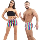 Crazy Chick® Men Women Shiny Metallic Dance Wear Shorts Casual Rainbow Gay Pride Hot Pants Unisex Fancy Dress Wet Look Shorts