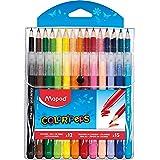 Maped - Combo Pack Coloriage Jungle Color'Peps - 15 crayons de couleur + 12 Feutres Lavables et Résistants au Séchage - Point