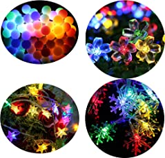 Citra Pack of 4 Crystal Multi Colour Led String Strip Light Star Snow Flake Ball Swastika and Other Random Shapes - Multi Colour