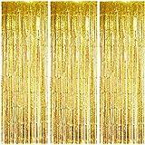 ot de 3 rideaux en aluminium à franges de 1 m x 3 m - Rideau métallique brillant - Idéal pour les anniversaires, mariages, fê