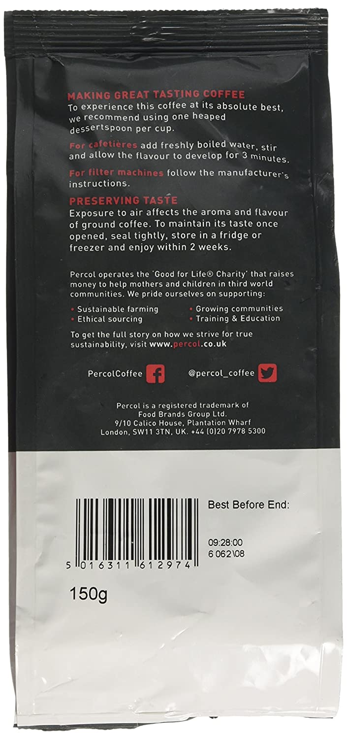 Percol Fairtrade Decaf Colombia Ground Coffee 200 G Pack Of 6