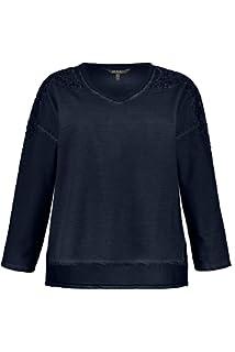 Ulla Popken Womens Plus Size Pointelle Inset Sweater 720717