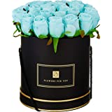 Fourwalls Artificial Rose Flowers in a Box for Valentines Day Gift (21 Flower in Box, 22 cm Tall, Black and Blue)