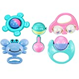 funny teddy baby rattles set - 5 pc | teether, shaker, grab and spin rattle, musical toy | early educational toys- Multi colo