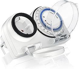 Bearware – Zeitschaltuhr (Outdoor) mechanische / Timer | 6 Schaltsegmente | Einstellung in 15-Minuten-Schritten | 3680W | IP 44 Schutzart (Outdoor) | spritzwassergeschützt | Kinderschutzsicherung