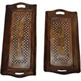 Lunatic Craftwork Hand Carved Wooden Serving Tray Set of 2 (Tea, Coffee, Snacks, Water) Decorative Tray/Platter for Home…