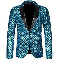 Allthemen Men Suit Slim Fit Blazer Back Split Fish Scale Pattern Dinner Jacket Wedding Blazer Prom Tuxedo