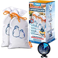 Pingi Lot de 2 déshumidificateurs réutilisables avec indicateur 500 g + hygromètre