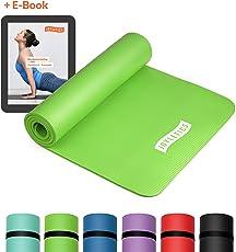 Joyletics Fitnessmatte »100« + e-Book und Traggegurt | für Yoga, Pilates, Bodentraining | 183 x 61 x 1cm | Rutschfest, strapazierfähig, Abriebfest, phthalatfrei, SGS geprüft
