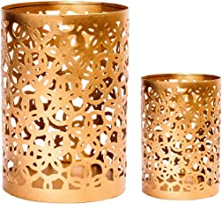 Scrafts Golden 2pcs set Metal Candle Stand Party Café Pillar Candle Holder Home Decoration/Special Occasions/Romantic dates/Side Table Decoration Gift set For Festive Gift/Wedding gift/Corporate Gift