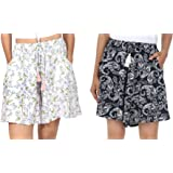 B STORIES Women's Viscose Printed Lounge Shorts (Pack of 2)