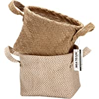 Sea Team Storage Paniers Organizer Box Bins in Jute and Cotton Linen Pliable with Handle Decorative for Home Toiletry…