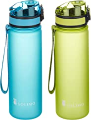 Amazon Brand - Solimo Sports Water Bottles, 600 ml, Set of 2 (Green, Blue)