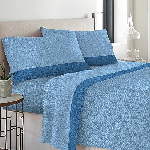 Set Completo Letto Lenzuola 100% Cotone Stampato Made in Italy Dis Micron Singolo 1P Azzurro