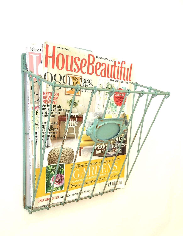 Wire Magazine Newspaper Basket Wall Mounted Post Storage Rack ...
