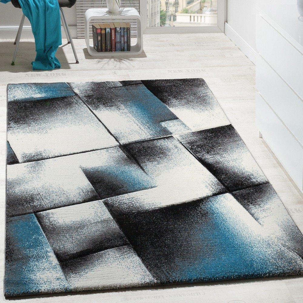 Designer Teppich Wohnzimmer Teppiche Kurzflor Meliert Türkis Grau Creme  Schwarz, Grösse:120x170 Cm: Amazon.de: Küche U0026 Haushalt