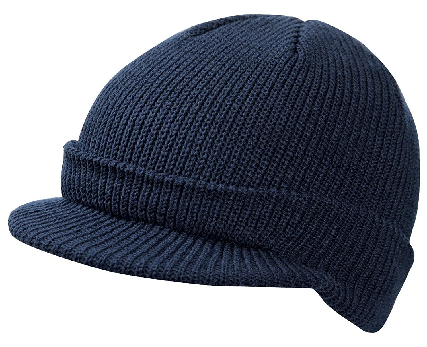 CLASSIC PEAKED RIBBED BEANIE KNITTED CAP HAT 8 COLOURS 928c5eeb22a