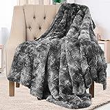 Everlasting Comfort Couverture de luxe en fausse fourrure - Ultra douce et duveteuse - pour canapé, lit et salon - Automne, h