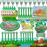 WENTS Stoviglie di Dinosauro Set - 95 PCS Forniture per Feste di Compleanno di Dinosauri, Piatti, Coppe, Copritavolo, tovagli