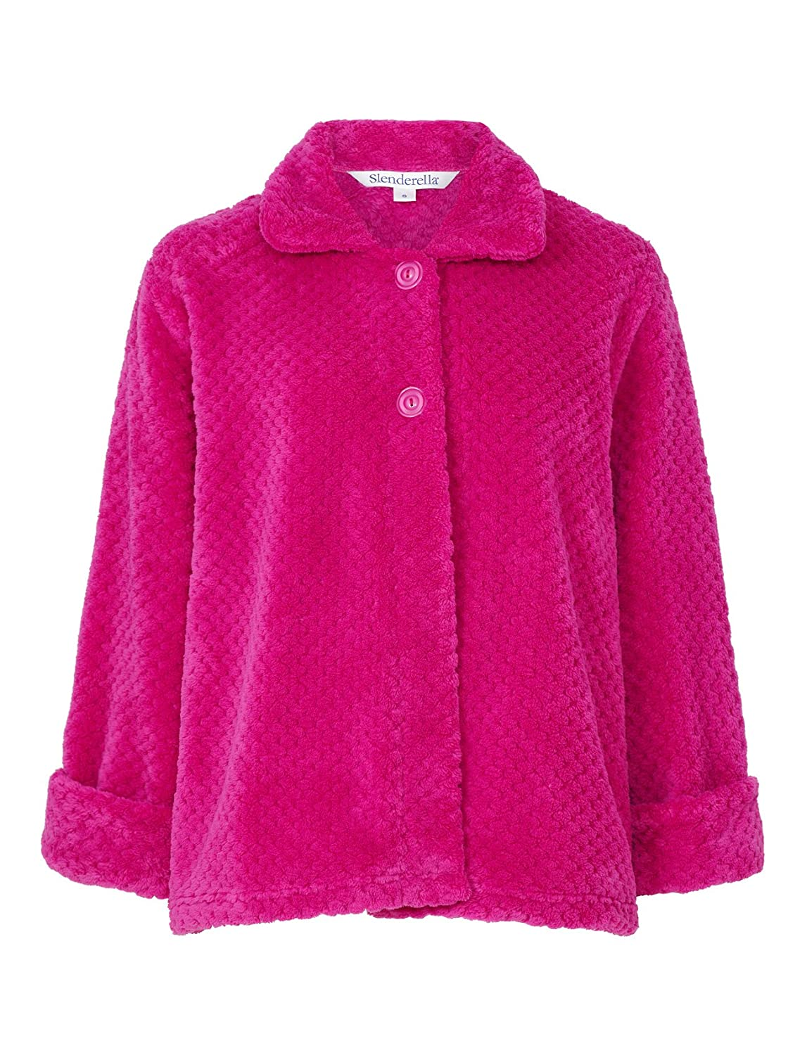 Small - XXL Slenderella Ladies Floral Jacquard Bed Jacket Button Up Super Soft Fleece Housecoat