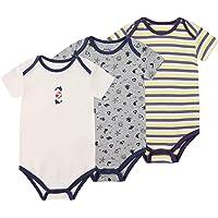 Froerley Body Neonato Manica Corta, Body Bambino in Cotone Morbido, Abbigliameto Neonato Maschio Confezione da 3 per