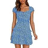 YBENLOVER Women Summer Dress Floral Print Mini Dress High Waist Short Dress Vintage Beach Dress
