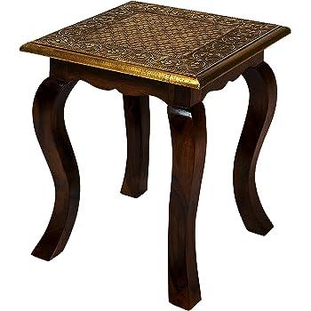 Marokkanischer Tisch Beistelltisch Aus Holz Bidhan Rot ø 45cm Rund |  Orientalischer Runder Hocker Blumenhocker Klein ...