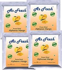 As Fresh Freeze Dried Alphonso Mango 200gm(4x50gm)-Unsweetened,100% Fruit