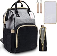 Motherly Babies Diaper Bags for Mothers with 1 Bottle Bag + 1 Changing Mat + 1 Set of Stroller Hooks (Black, Gray)