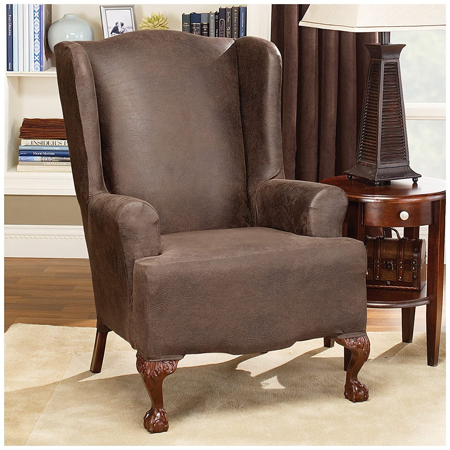 Sure Fit Stretch Leather Wing Chair Slipcover Brown SF