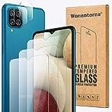 Wonantorna per Samsung Galaxy A12/M12 Vetro Temperato Pellicola Protettiva, 3X Pellicola Vetro +2X Pellicola Fotocamera, [9H
