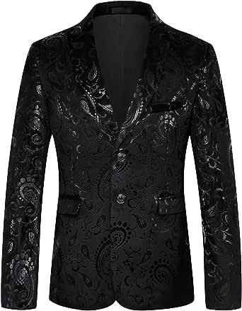 JOGAL Mens Casual Suit Blazer Slim Fit Coats Chic Jackets