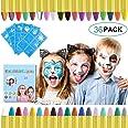 URAQT Ansiktsfärg Kritor, 36 Färger Barn Kropp Ansiktsfärg Set Med 30 Färg Stencils, Perfekt för Halloween/jul/Makeup Cosplay