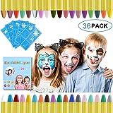 URAQT Trucchi per Truccabimbi, 36 Colori del Corpo del Viso Body Painting con 5 Stencil Face Paint per Bambini, Sicuro e…