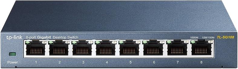 TP-Link TL-SG108 V3 8-Port Gigabit Netzwerk Switch (bis 2000 MBit/s, geschirmte RJ-45 Ports, Metallgehäuse, optimiert Datenverkehr, IGMP-Snooping, unmanaged, lüfterlos) blau metallic