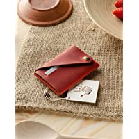 Portafoglio minimalista in pelle/portacarte | Fragola Red portapacchi Crazy Horse in pelle, vintage, portamonete di…