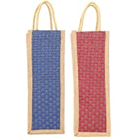 VANYA HANDICRAFT COLLECTION Jute Water Bottle Bag with Handles (Blue and Red) - Pack of 2