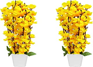 PG Creations Blossom Artificial Flower with Plastic Pot