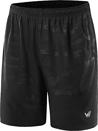 WHCREAT Men's Sports Shorts Quick Dry with Zip Pockets for Gym Running Training