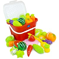Kingwell Realistic Sliceable Cutting Fruits and Vegetables Play Educational Toys with Basket for Kids