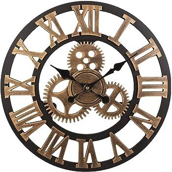 Wall Clocks Afbc Clock 3d Retro Rustic Vintage Wooden 23-inch Noiseless Gear Wall Clock Number Ancient Gold