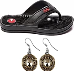 Box On Magic Combo Unisex Acupressure Slippers Sandals For Pain Relief & Total Health Care + One Pair Ear Ring Set (SD-06-BLACK)