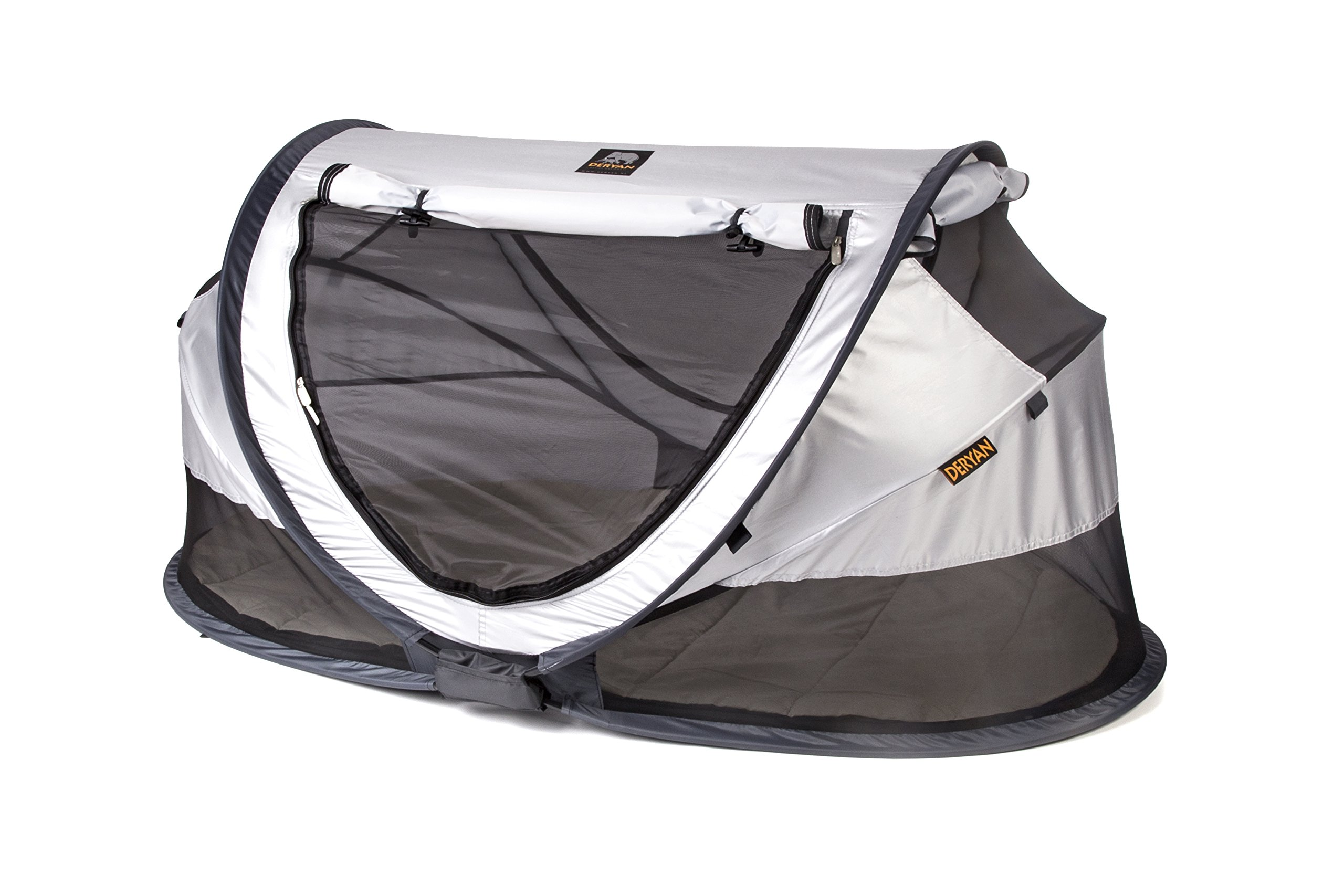 Travel Cot Peuter Luxe (Silver) Deryan 50% UV Protection and flame retardant fabric Setup in 2 seconds and a anti-musquito net  3