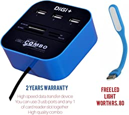 Digi+ Combo Card Reader And 3 Port USB Hub All In One Combo Card Reader & 3 Port USB 2.0 Hub With LED Light