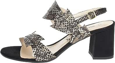 Valleverde 28250 Sandali Donna Vera Pelle Stampato Acciaio Glitter Tacco Cm 7
