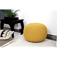 DECORVAIZ Cotton Knitted Pouf Ottoman Foot Stool/for Living Room, Bedroom Hall, Pouf Ball Chair/Pouf exterior Ball…