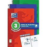 Oxford, Cuadernos A4 (Folio). Pack Promocional 3 Libretas Tapa Plástico. 80 Hojas cuadrícula 4x4. Surtido colores vivos.