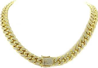 Catena a maglia cubana Miami da 12 mm – diamanti da 25 ct TW VVS Lab – acciaio inossidabile placcato oro 14 k – Iced Bling