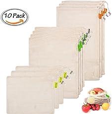 Gemüsebeutel, Gemüsenetze, Reusable Produce Bags, Obst und Gemüsebeutel 10er Set