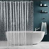 SPARIN Douchegordijn 180 x 200 cm, transparant, antischimmel voor badkuip, Eva waterdicht douchegordijn, 180 x 200 cm, badgor